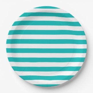 Aqua Horizontal Stripes Paper Plate