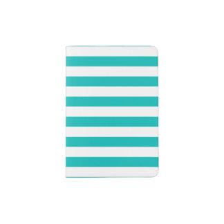 Aqua Horizontal Stripes Passport Holder