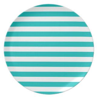 Aqua Horizontal Stripes Plates