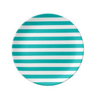 Aqua Horizontal Stripes Porcelain Plates