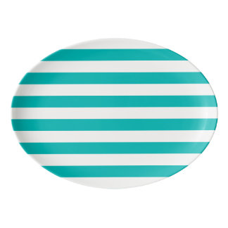 Aqua Horizontal Stripes Porcelain Serving Platter