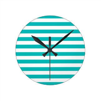 Aqua Horizontal Stripes Round Clock