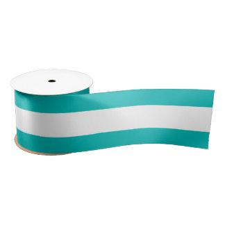 Aqua Horizontal Stripes Satin Ribbon