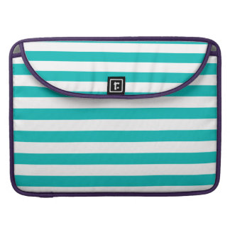Aqua Horizontal Stripes Sleeve For MacBook Pro