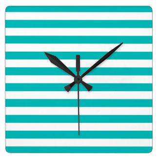 Aqua Horizontal Stripes Square Wall Clock