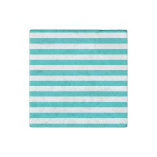 Aqua Horizontal Stripes Stone Magnets