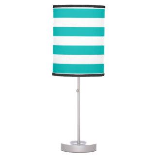 Aqua Horizontal Stripes Table Lamp