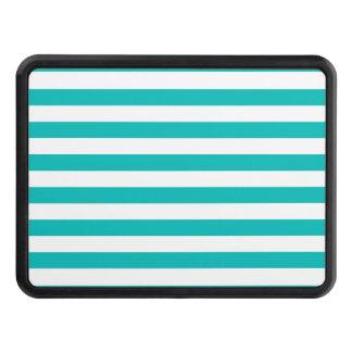 Aqua Horizontal Stripes Trailer Hitch Cover