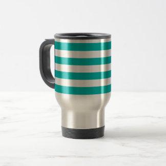 Aqua Horizontal Stripes Travel Mug