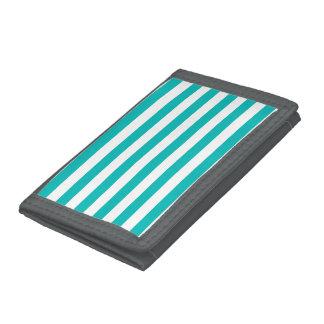 Aqua Horizontal Stripes Tri-fold Wallet