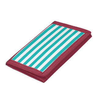 Aqua Horizontal Stripes Tri-fold Wallets