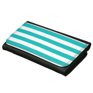 Aqua Horizontal Stripes Wallets For Women