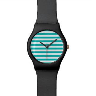 Aqua Horizontal Stripes Wrist Watches