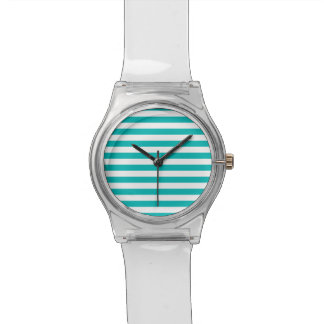 Aqua Horizontal Stripes Wristwatches