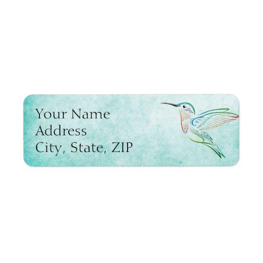 Aqua Hummingbird Anniversary Return Address