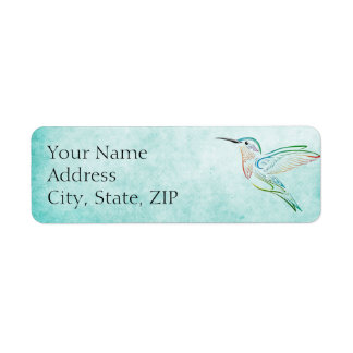 Aqua Hummingbird Anniversary Return Address Return Address Label