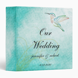 Aqua Hummingbird Watercolor Wedding Album 3 Ring Binders