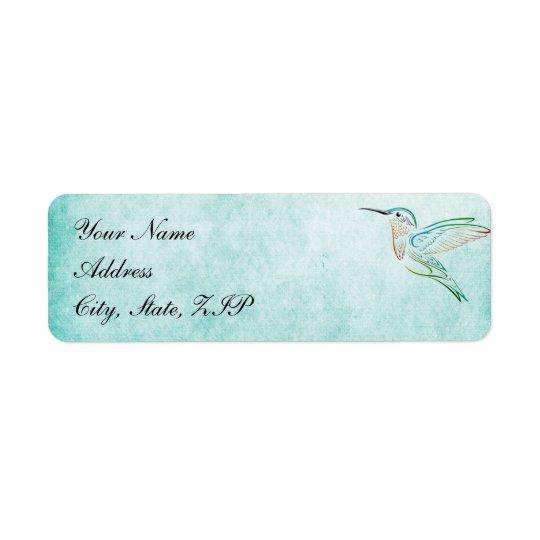 Aqua Hummingbird Watercolor Wedding Labels