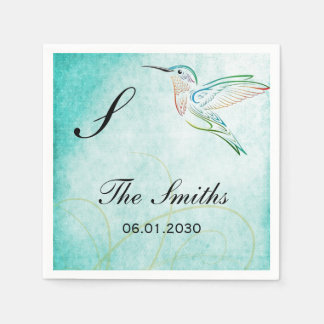 Aqua Hummingbird Watercolor Wedding Paper Napkins