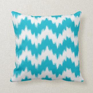 Aqua Ikat Chevron Pillow
