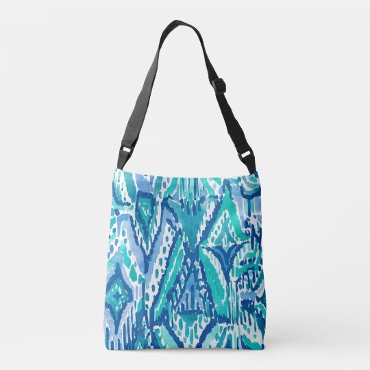 Aqua Ikat Fringe Tribal Watercolor Print Crossbody Bag