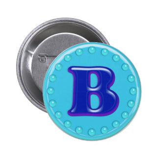 Aqua Initial B Pinback Buttons