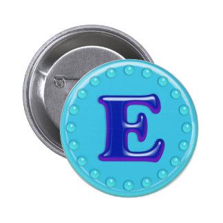 Aqua Initial E Pinback Button