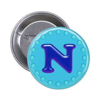 Aqua Initial N Pinback Button