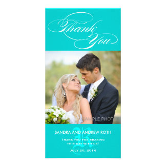 AQUA INITIAL SCRIPT WEDDING THANK YOU PHOTO CARD