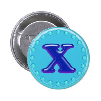 Aqua Initial X Pinback Buttons