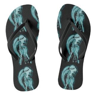 Aqua Inverted Angel Flip Flops