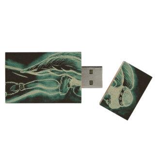 Aqua Inverted Angel Wood USB 2.0 Flash Drive