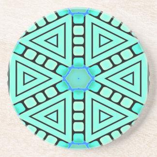 Aqua Kaleidoscope Geometric Design Coaster