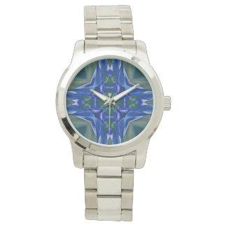 Aqua Kaleidoscope Pattern Watch