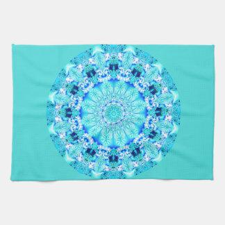 Aqua Lace Mandala, Delicate, Abstract Kitchen Towel
