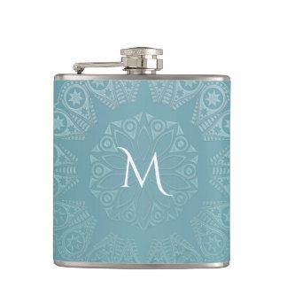 Aqua Lace Mandala Hip Flask