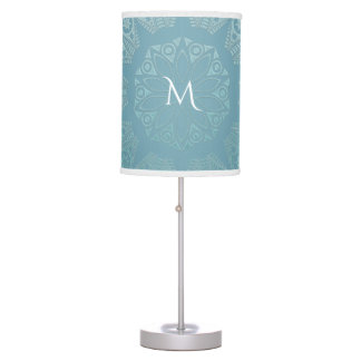 Aqua Lace Mandala Table Lamp