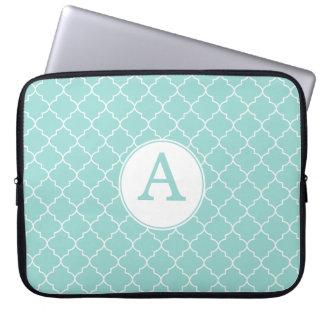 Aqua Lace Monogram Laptop Sleeve