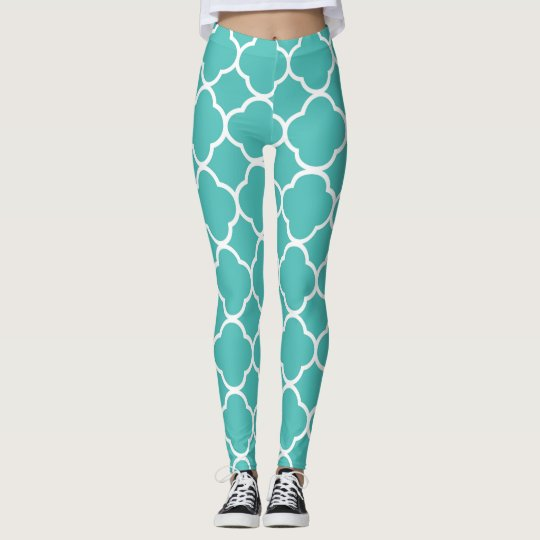 Aqua Large Print Trefoil Leggings