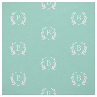 Aqua Laurel Wreath Monogram Fabric