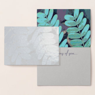 Aqua Leaves Foil Card