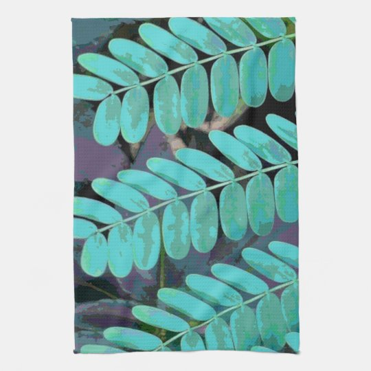 Aqua Leaves Hand Towels