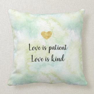 Aqua Leaves Watercolor Love Throw Pillow