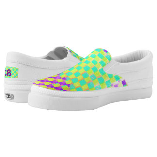 Aqua, Lime and purple Checked Pattern Monogram Slip-On Sneakers