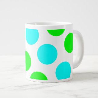 Aqua Lime and White Polka Dots Giant Coffee Mug