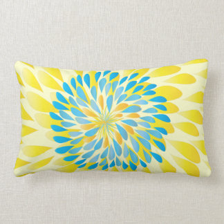 Aqua Lime and Yellow Modern Flower Floral Pillow