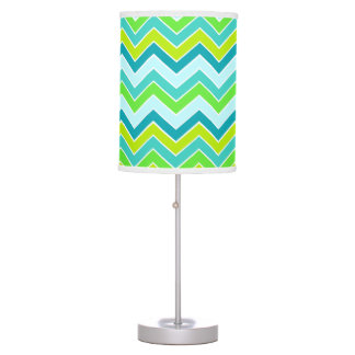 Aqua lime blue chevron zigzag pattern lamp shade