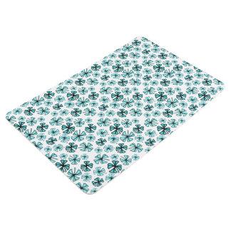 Aqua Lucky Shamrock Clover Floor Mat