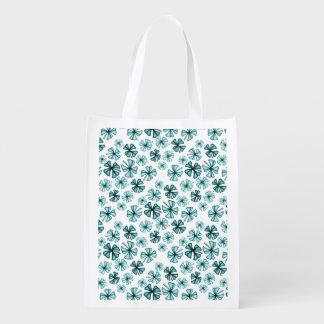 Aqua Lucky Shamrock Clover Reusable Grocery Bag