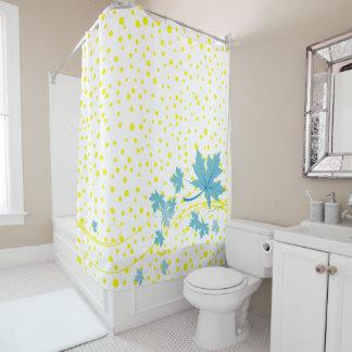 Aqua maple leaves and yellow polka dots